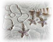 Starfish earrings and necklace, bridal jewelry set, beach wedding  rhinestone crystals jewelry
