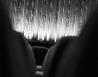 Between the Theater Seats // Black and White Fine Art Photography // State Theater, Traverse City, Michigan // Square Photo Print