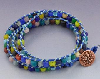Handmade Triple Wrap Ladder Stitch Bracelet