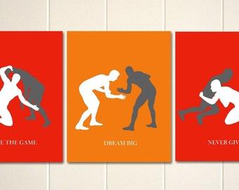 boys wall art wrestling wrestlers boys sports art boys bedroom art - Wrestling Bedroom Decor