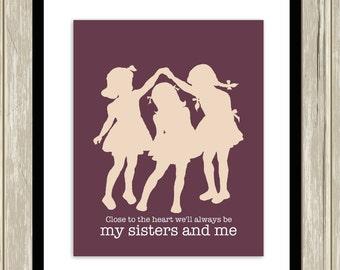 Sisters wall art, sisters room art, three sisters wall art, siblings art, kids room art, playroom decor, custom colors