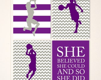 Girls wall art, basketball wall art, girls room decor, basketball player, girls basketball, inspirational sports quote, set of 4