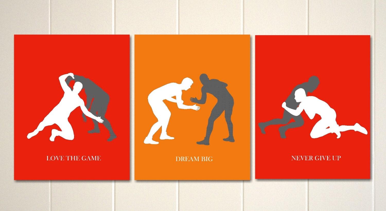 boys wall art wrestling wrestlers boys sports art boys