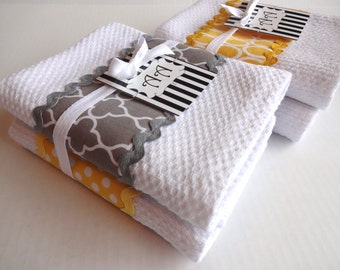 Set Of 4 Yellow And Grey Kitchen Towels, Yellow And Grey, Yellow And Gray,  Yellow Kitchen, Grey Bathroom, Decorated Towels, Hand Towel, AugustAve