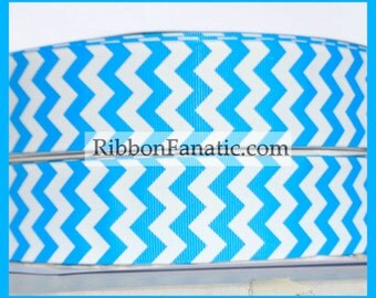 """5 yds 1.5"""" Turquoise Blue and White Chevron Striped Grosgrain Ribbon"""