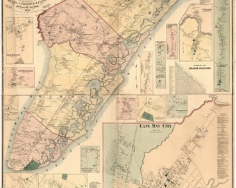 Cape May County  New Jersey 1872 - Old Wall Map Reprint with Homeowner Names