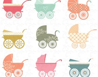 "Baby Stroller Clipart ""BABY CARRIAGE"" clip art pack, baby shower,Stroller Pram, Vintage Carriage, invitation,Instant Download Bsw001"