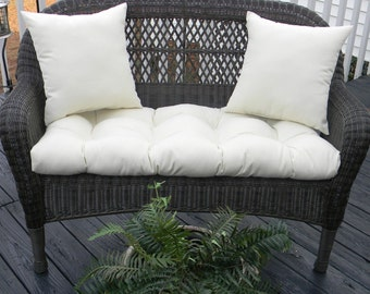 Indoor / Outdoor Cushion For Wicker Loveseat Bench Settee 3 PC Set   Solid  Ivory /