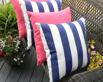 """SET OF 4 Pillow Covers - 20""""  Indoor / Outdoor Decorative Pillow Covers - 2 Navy Blue & White Stripe and 2 Solid Pink"""