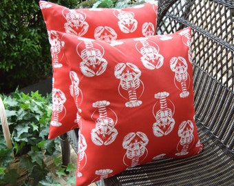 "Set of 2 Pillow Covers ~ 20"" Red & White Lobster Coastal / Nautical / Beach Decorative Indoor / Outdoor"