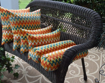 Set of 6 Geometric Red Orange Teal Pillows Square Rectangle Bolster Indoor / Outdoor