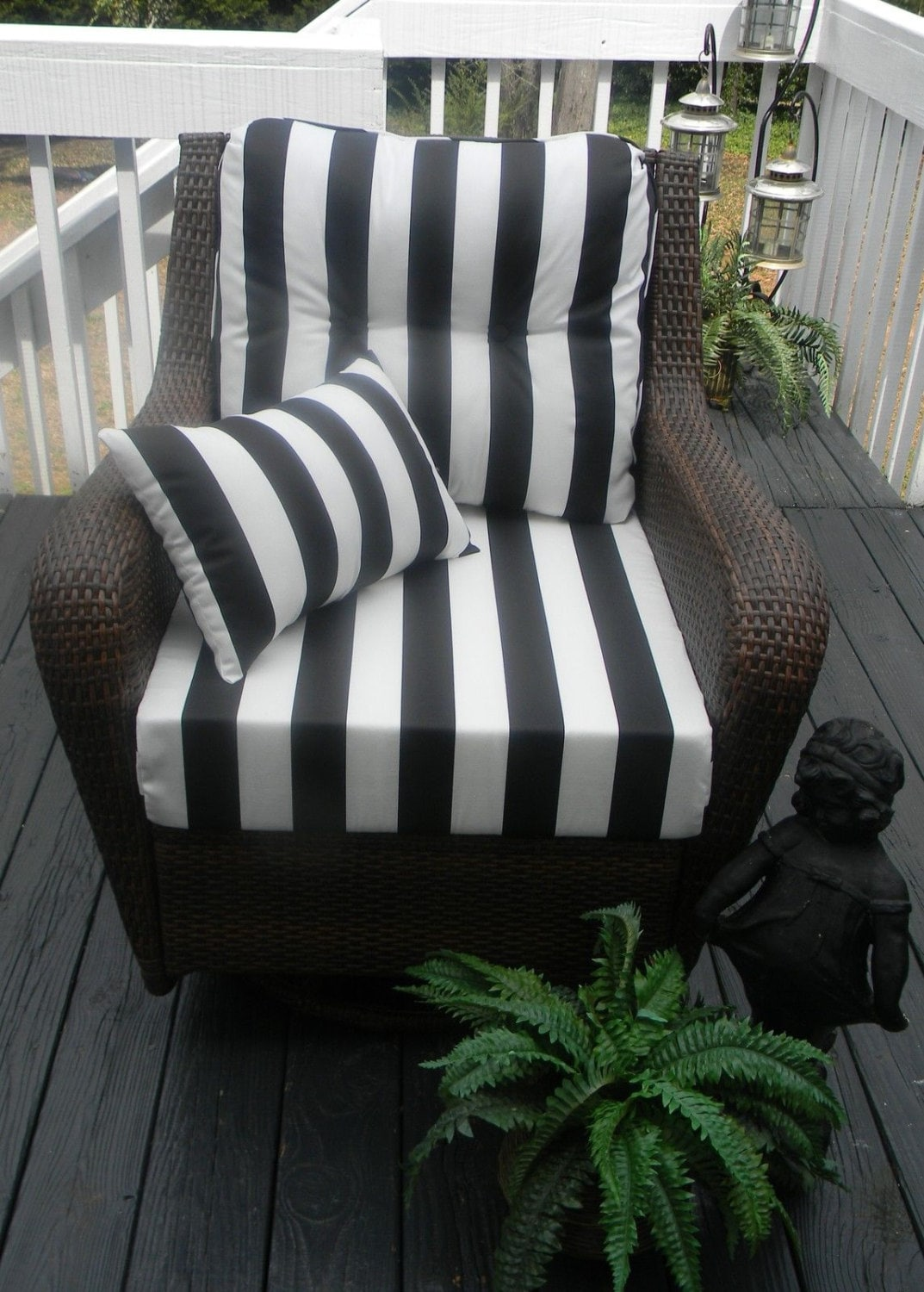 Deep Seating Chair Cushion Set Black Amp White Stripe Choose