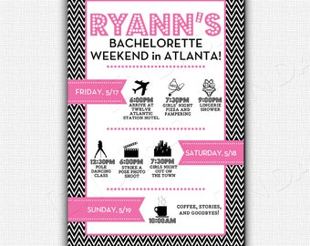 Custom Bachelorette Agenda/Invite