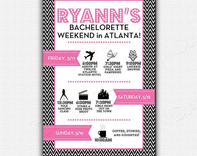 Custom Bachelorette Agenda/Invite