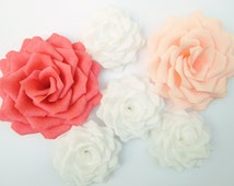 6 Giant Paper Flowers/Giant Paper Roses/Wedding Decoration/Arch Flowers/ Table Flower Decoration/ Coral Peach White Roses