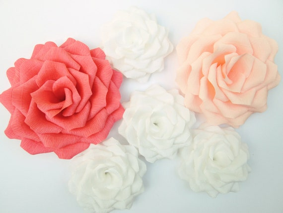 6 Large Paper Flowers Giant Paper Roses Wedding