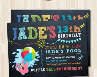 Chalkboard Pool Party Birthday Invitation. Summer party. DIY card. Digital Printable card
