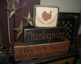 Primitive Block Sign Thanksgiving saying