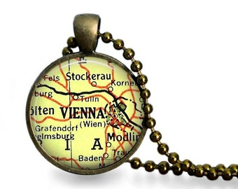 Vienna map necklace vintage map pendant vintage atlas travel gift map jewelry.