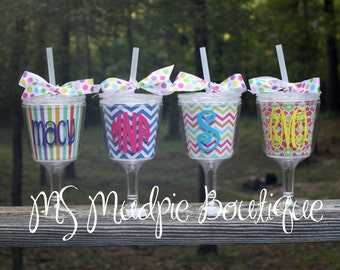 Monogrammed Acrylic Wine Glass, Personalized Wine Glass with Lid and Straw
