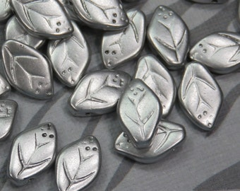 Silky Silver Czech Glass Leaves, 24 Beads - Item 1612