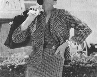 Vintage Vogue Tweed Dress and Jacket Suit Knitting Pattern