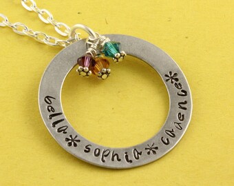 SALE - Personalized Custom Birthstone Necklace - Handstamped Customizable Mother's Mom Grandma Gift for Mother's Day