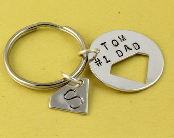 Christmas Gift for Dad - Superhero Keychain - Super Hero Keychain - Personalized Keychain - Custom Keyring - Best Dad Keychain -Hero Keyring