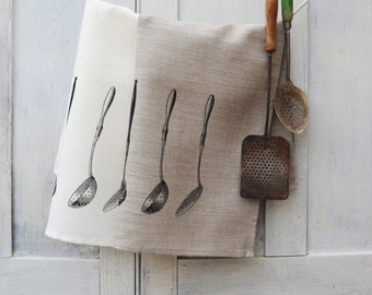 Hand Printed Pure Linen Tea Towel - Vintage Kitchen Ladles
