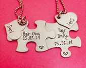 Her One Her Only Puzzle Piece Necklace Set with Heart Charms Gay/Lesbian Set with Initials and Custom Date Hand Stamped Anniversary
