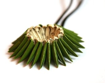 Olive Green Origami Sunburst Necklace - Paper Necklace