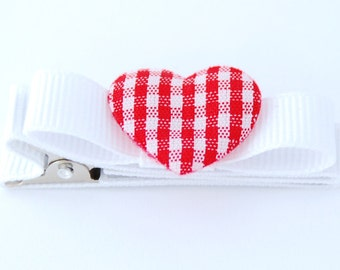 Heart barrette for girls toddler baby fully lined on a double prong alligator clip in white grosgrain with tuxedo bow and red gingham heart