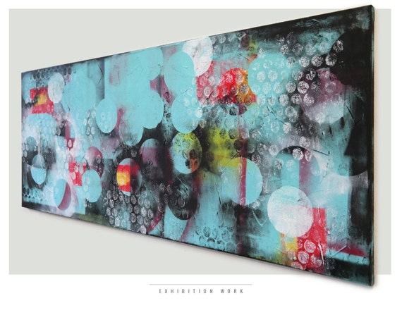 "EXHIBITION WORK - Windy Turquoise Cirkel line - Acrylic Modern Art -  59.1"" x 23.6"" Ronald Hunter Paintings"