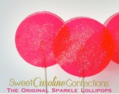 Guava Hard Candy Lollipops-Wedding Favors, Party Favors, Candy, Fruity Candy, Baby Shower gifts, Sweet Caroline Confections--Set of Six