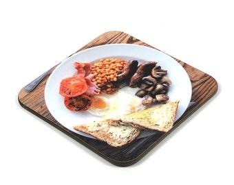Wooden Coaster, English Breakfast Coaster, Photo Coaster, Handmade