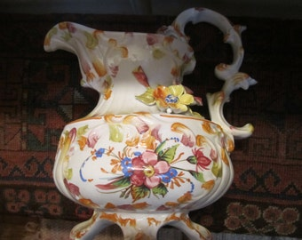 Vtg. Italian Ceramic Pitcher  Sold As Is