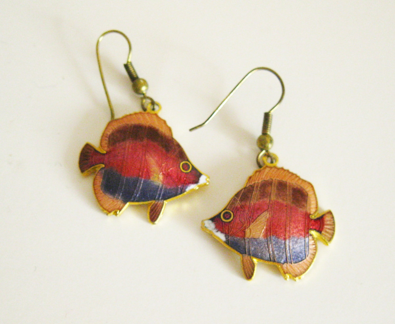cloisonne fish enamel earrings blue enamel circa