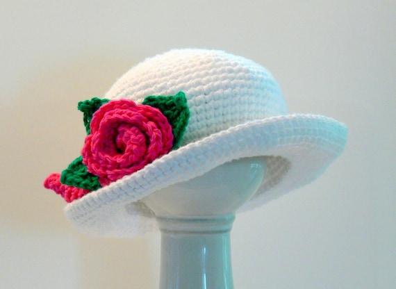Girls Sun Hat with Flower Rose Crochet Pattern Sizes ...