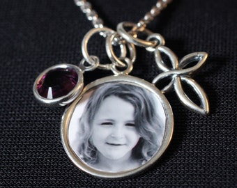 Sterling Silver Custom Photo Pendant with Cross Charm Necklace