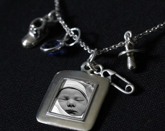 Sterling Silver Custom Photo Pendant Necklace with Baby Charms