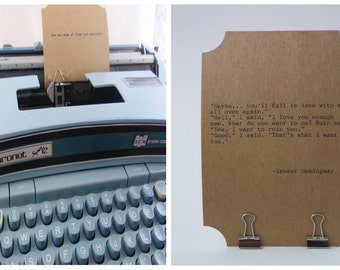 HEMINGWAY LOVE Quote CARD-- Made on Vintage Typewriter-- Inspirational Poetry Letterpress Typography