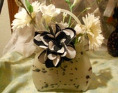 Glass Purse Floral Arrangement,  Floral Arrangement, Spring Flower Arrangement, Black, White