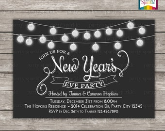 New Years Eve Party Invitation - Glitter Bulbs / Baubles  - Personalized Digital Custom Invite 4x6 or 5x7 jpg or pdf