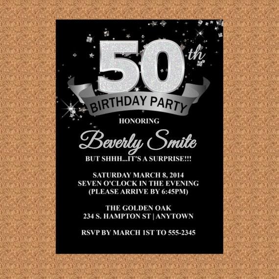 50th Birthday Invitation Milestone Birthday Invitation 20th