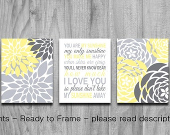 You Are My Sunshine Yellow Gray SALE Set Nursery Art  3 Print Baby Shower Gift Baby Bedroom Decor