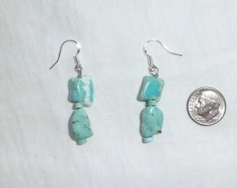 NEW Artists Genuine Blue Turquoise Sterling Silver Pierced Earrings Dangle