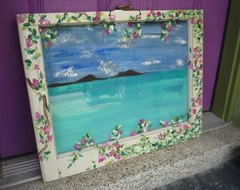 Vintage painted window,Coastal Art,Cottage Art,Island Art, Old window art
