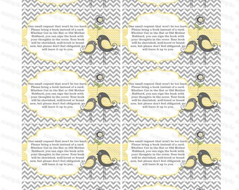 Bring a book insert baby shower invitation bring a book instead of card baby shower invitation insert yellow baby shower invitations (1420t)