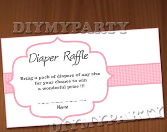Baby Shower Diaper Raffle Ticket Diaper Raffle Cards Diapers Raffles Baby Shower Games Printable Digital Files printable party decor rose