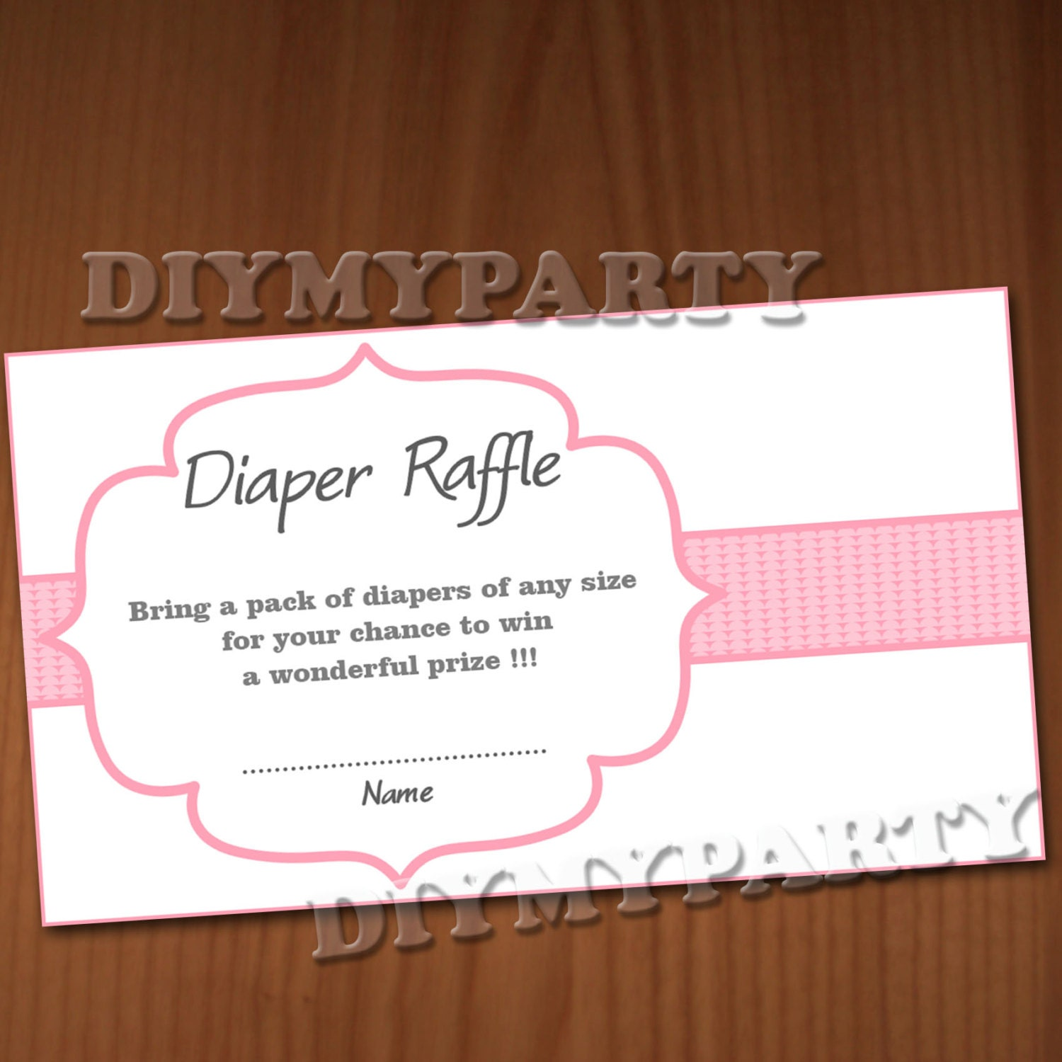Baby Shower Diaper Raffle Ticket Diaper Raffle Cards by diymyparty